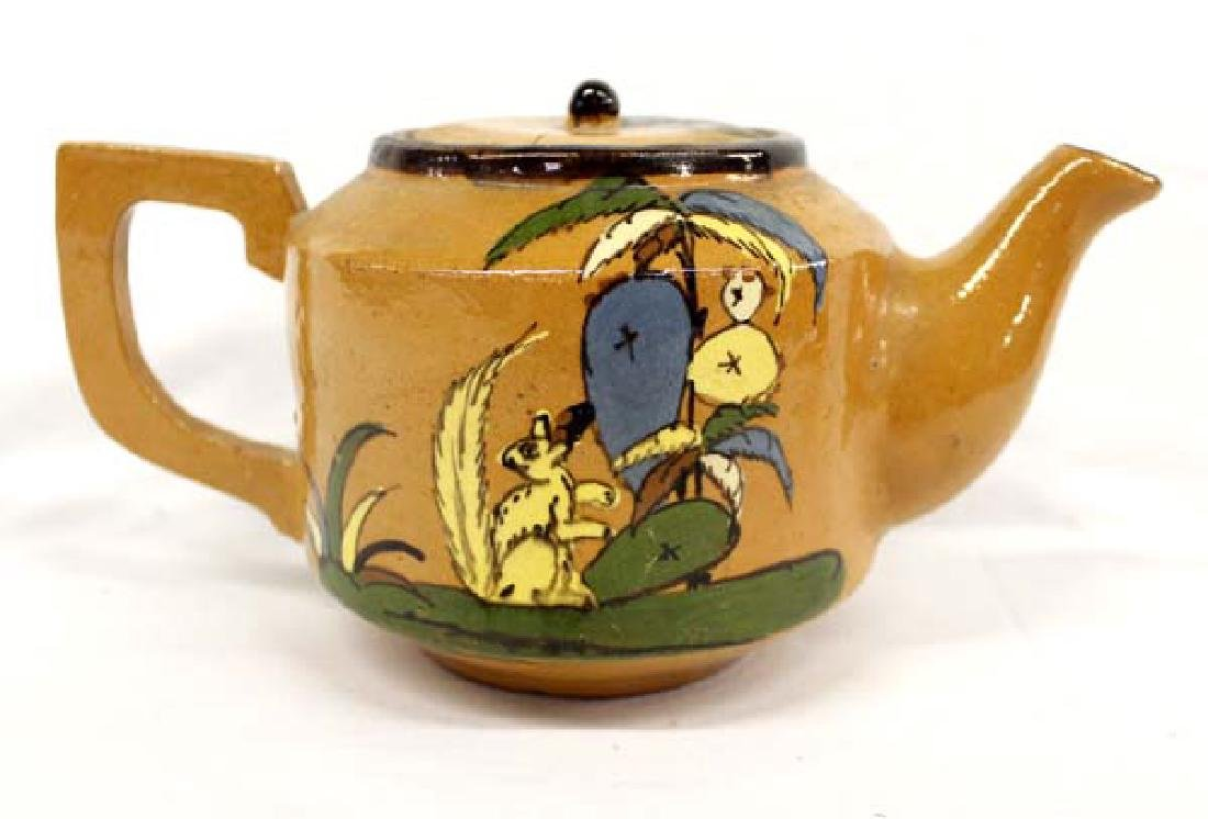Vintage Mexican Glazed Clay Teapot - 3