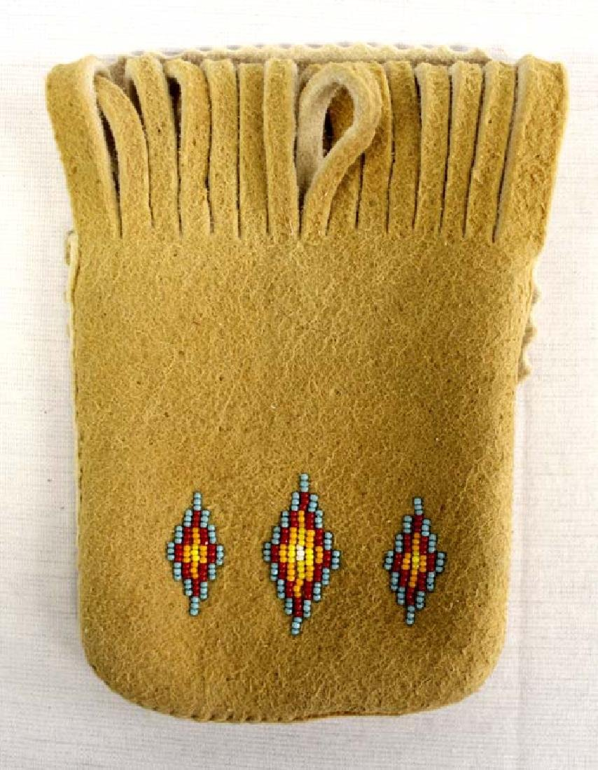 Native American Sioux Beaded Suede Belt Bag
