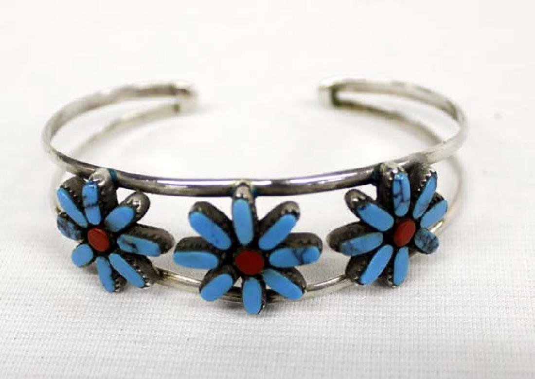 Zuni Sterling Turquoise & Coral Cuff Bracelet