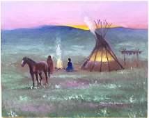 Original Comanche Painting, Timothy Tate Nevaquaya
