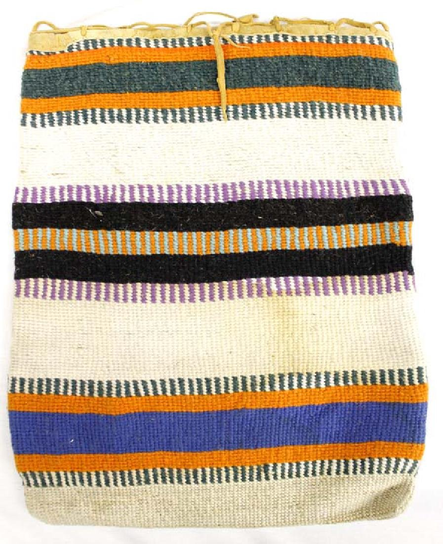 Nez Perce Woven Textile and Leather Flat Bag
