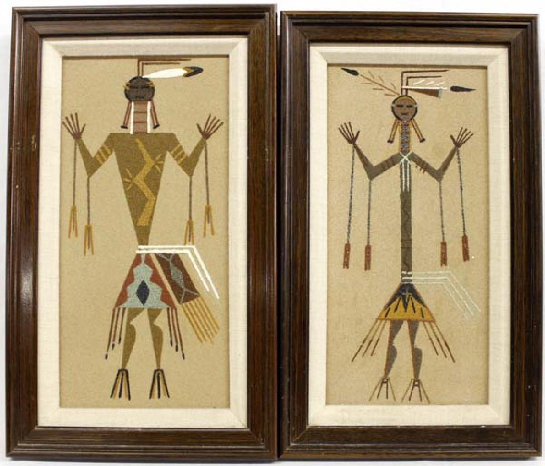 Pair of Native American Navajo Sand Paintings