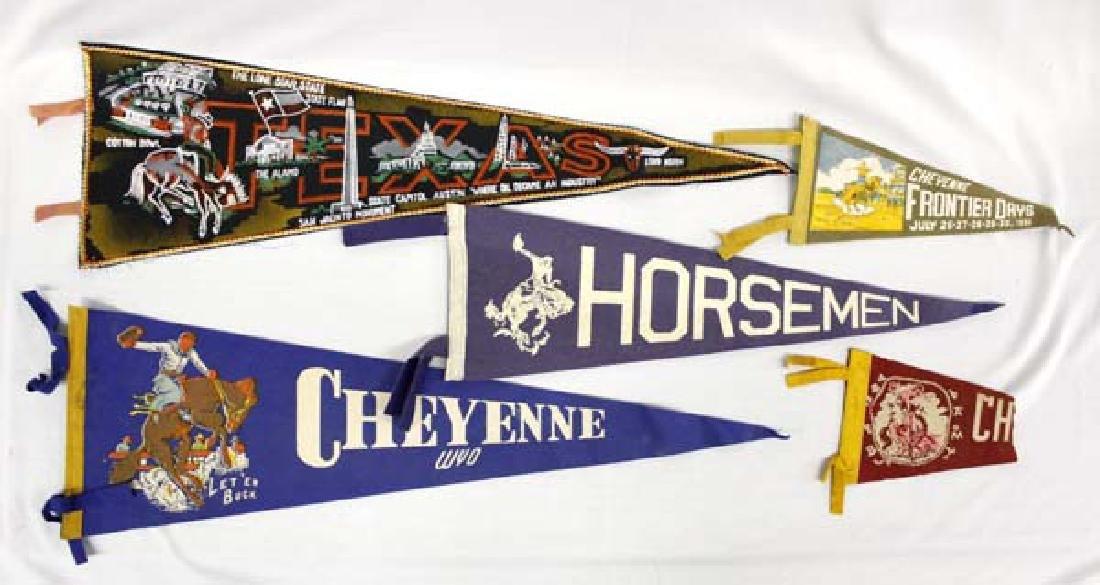 5 Vintage Western Souvenir Pennants