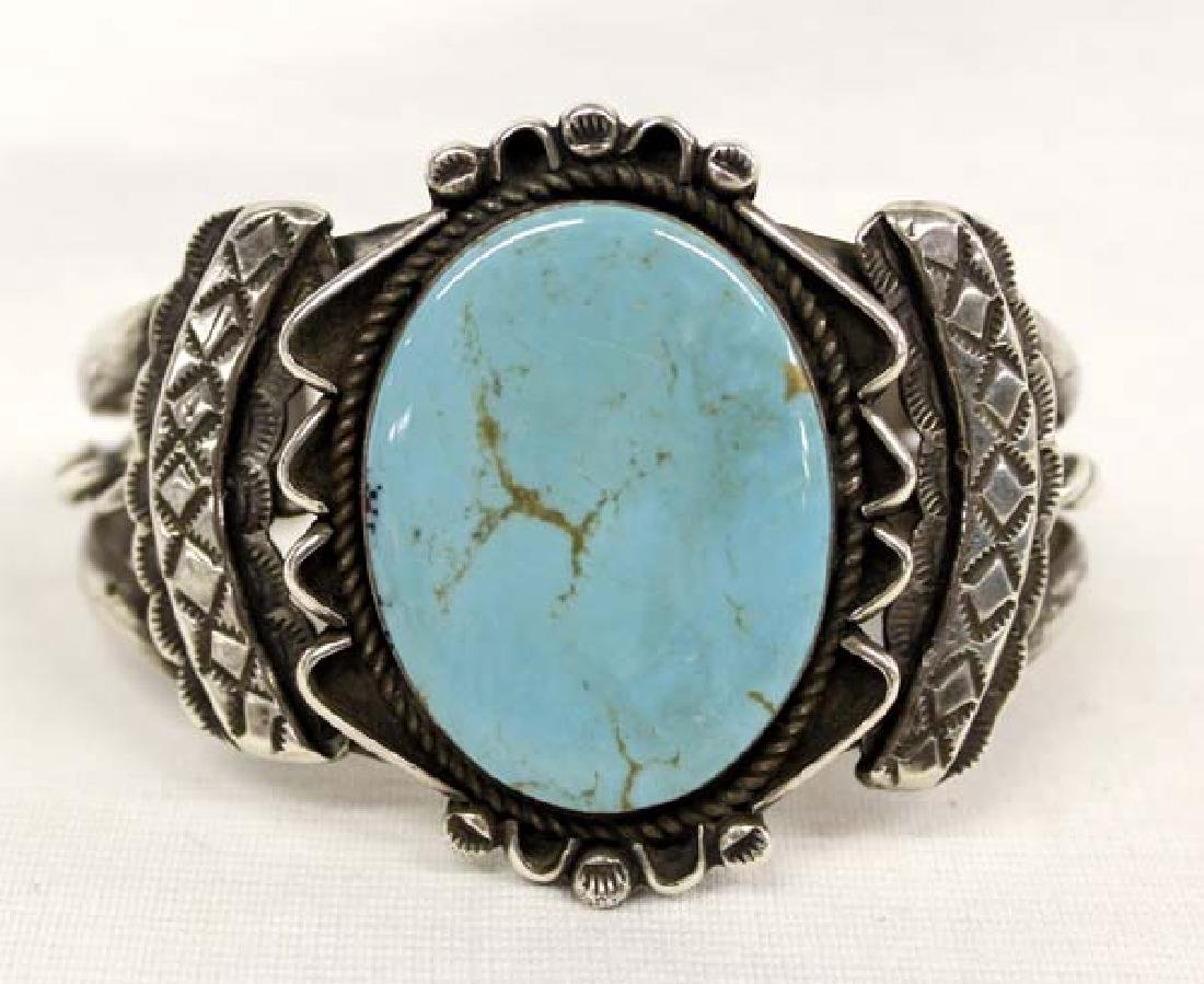 1950 Navajo Old Pawn Silver Turquoise Bracelet