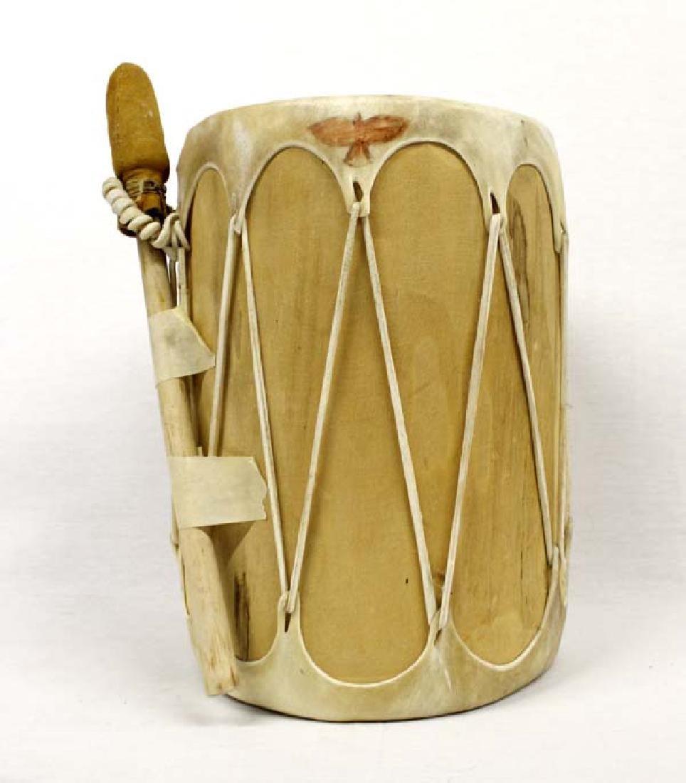 Medium Native American Taos Wood and Hide Drum