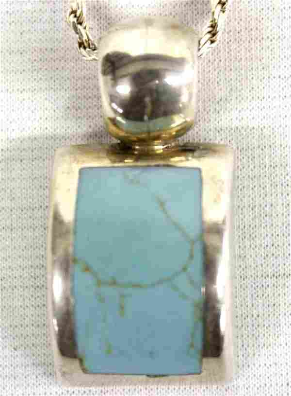 Sterling Turquoise Pendant Necklace