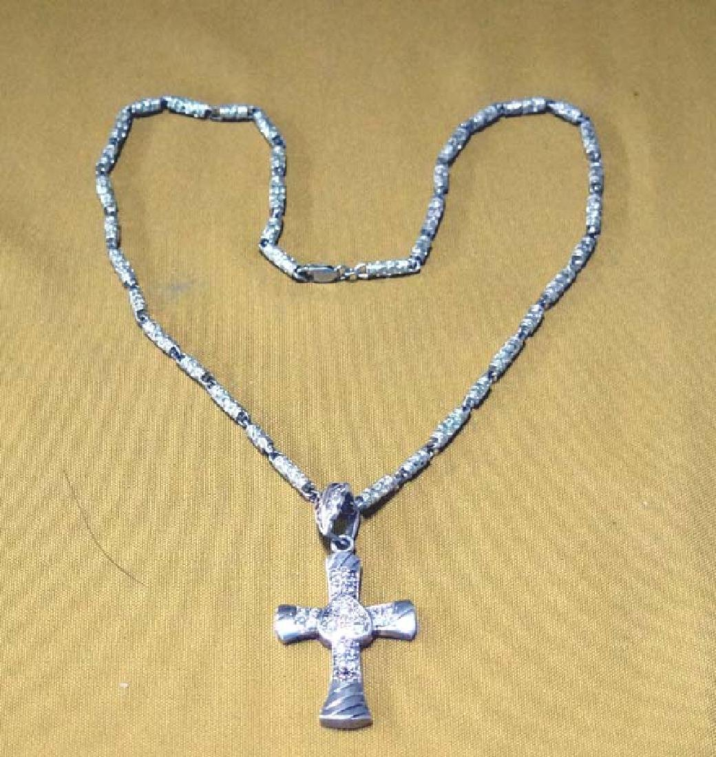 Sterling Silver Cross Necklace 3in Cross SH $10