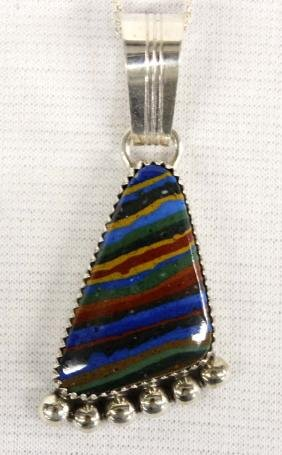 Navajo Sterling Calsilica Rainbow Pendant Necklace