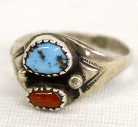 Navajo Old Pawn Silver Turquoise & Coral Ring,10.5