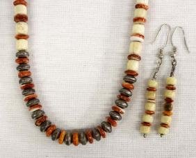 Navajo Red Shell Rondelle Bead Necklace Earrings
