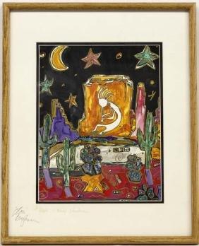 Original Kokopelli Christmas Painting by Brigham