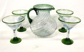 Mexican Hand Blown Margarita Pitcher and 4 Glasses