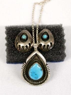 Navajo Silver Turquoise Necklace & Earrings