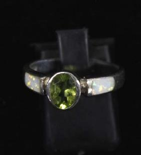 Sterling Silver Peridot and Opal Ring, Size 7