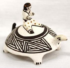 Estate Native American Acoma Pottery Turtle by B. Leno