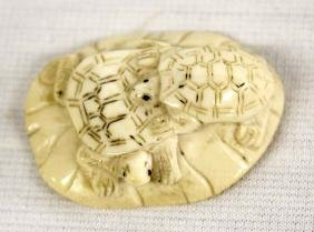 Antique Japanese 1900 Carved Bone Turtle Netsuke