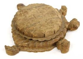 Hand Carved Wood Turtle with Copper Insert