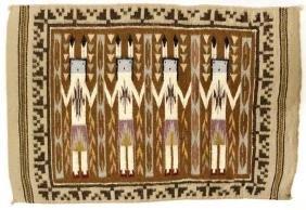 Vintage Navajo 4 Yei Wool Textile Rug