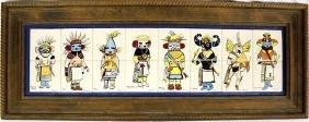 Large Vintage Framed Hand Painted Kachina Tiles