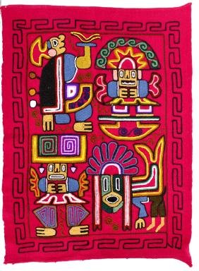 Peruvian Hand Embroidered Magenta Wool Textile