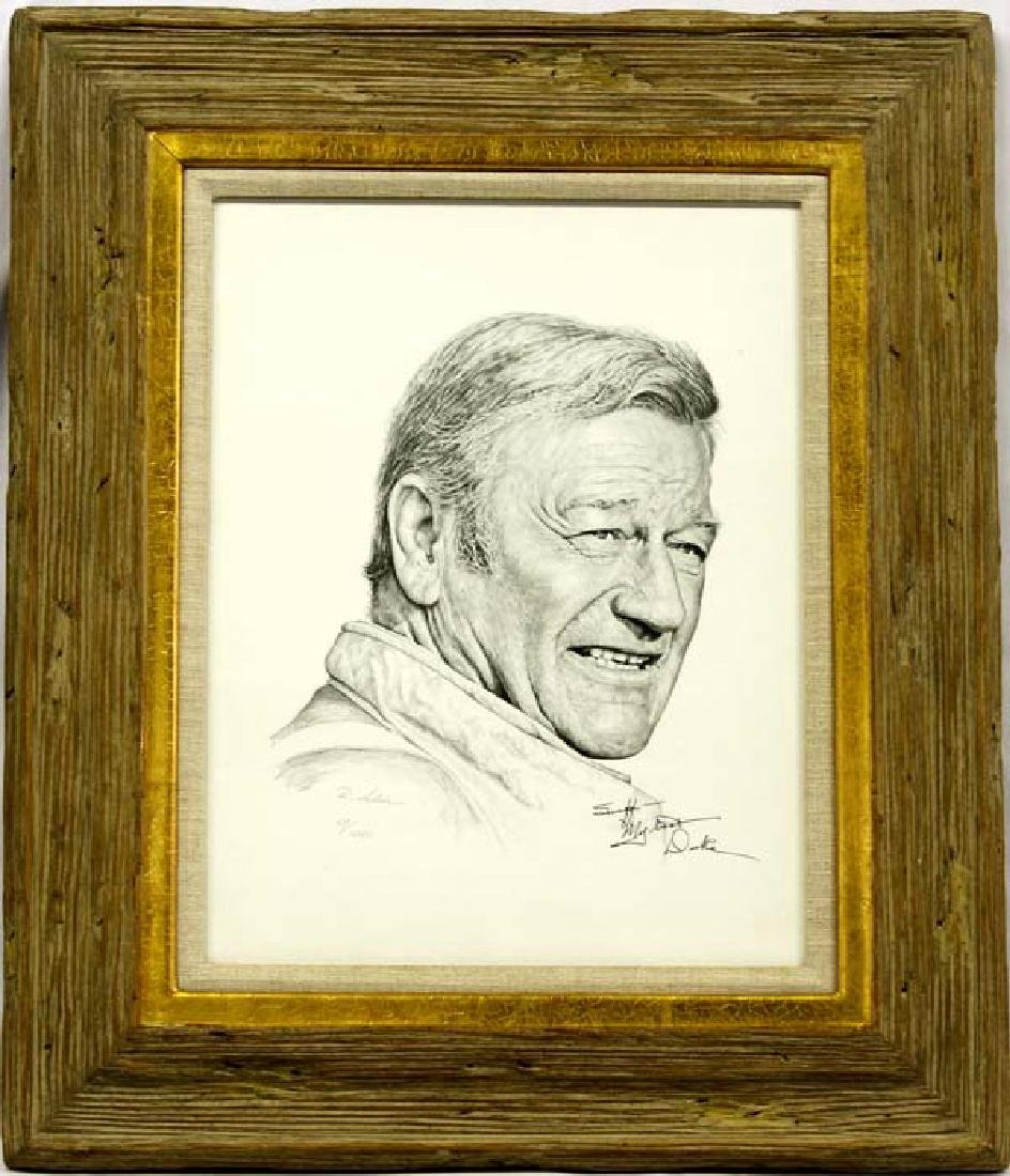 Framed John Wayne Print, Autographed by The Duke