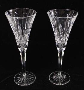 2 Waterford Crystal Champagne Flutes