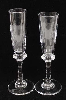 Pair of Handmade Mouth Blown Champagne Flutes