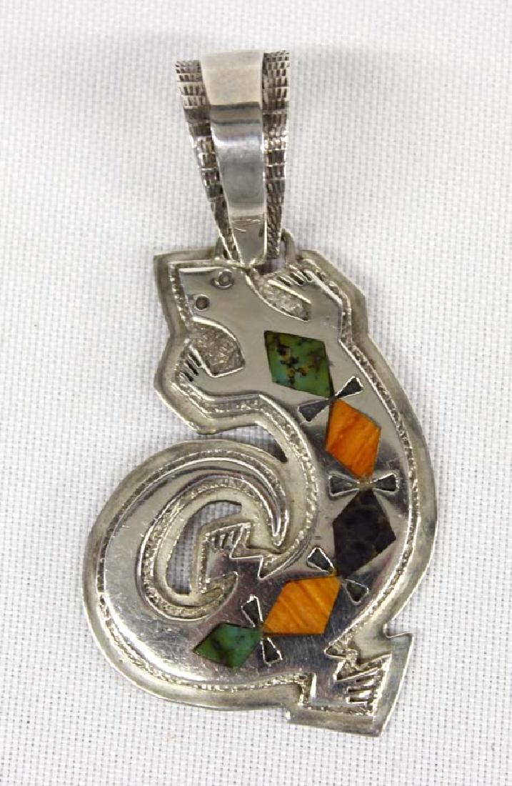 Native American Navajo Silver Inlay Lizard Pendant