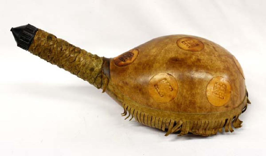Estate Italian Leather Covered Turtle Whiskey Bottle
