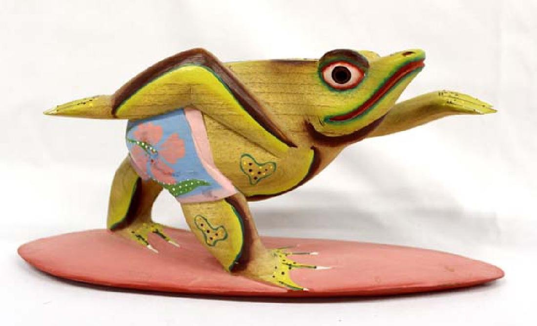 Bali Hand Carved and Painted Wood Surfing Frog