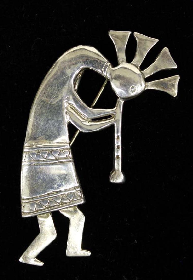 Navajo Sterling Silver Kokopelli Pin Pendant