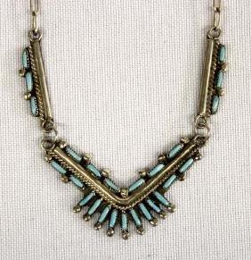 Zuni Sterling Needlepoint Turquoise Necklace