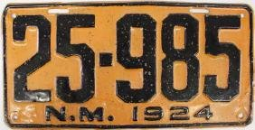 Antique 1924 New Mexico License Plate