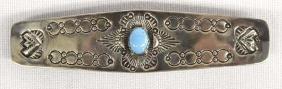 Native American Navajo Sterling Turquoise Barrette