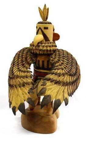 Large Hopi Eagle Kwahu Carved Kachina by Richard