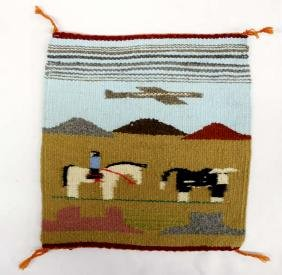 Native American Navajo Pictorial Wool Textile