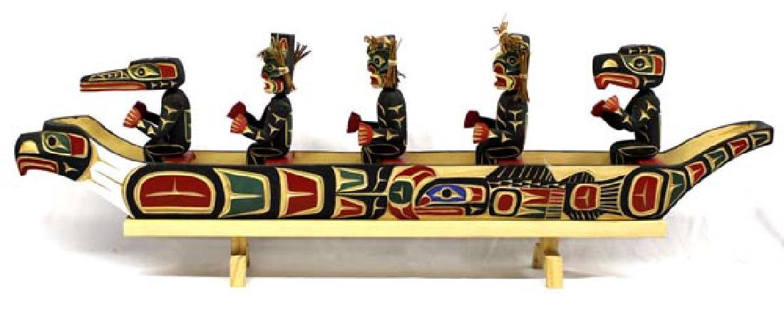 Kwakiutl Carved Head Canoe Model & Figures