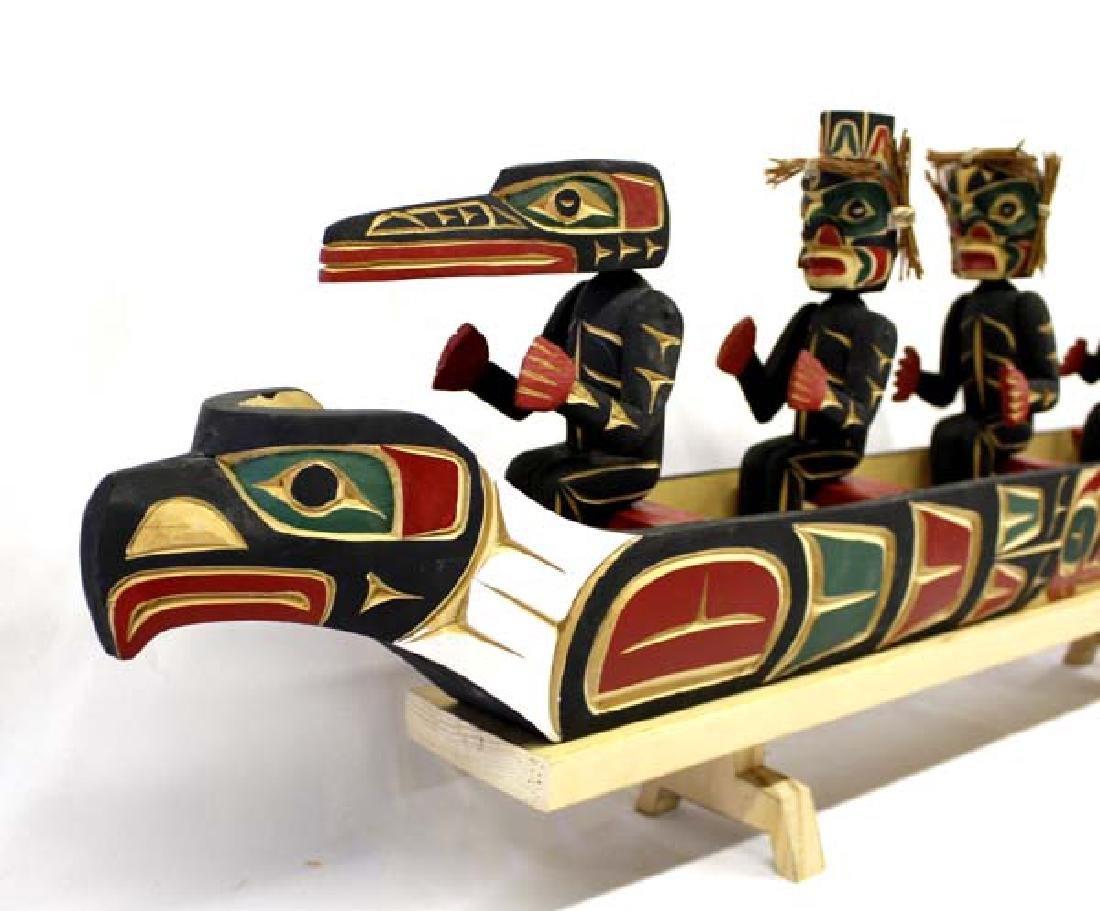Kwakiutl Carved Head Canoe Model & Figures - 2