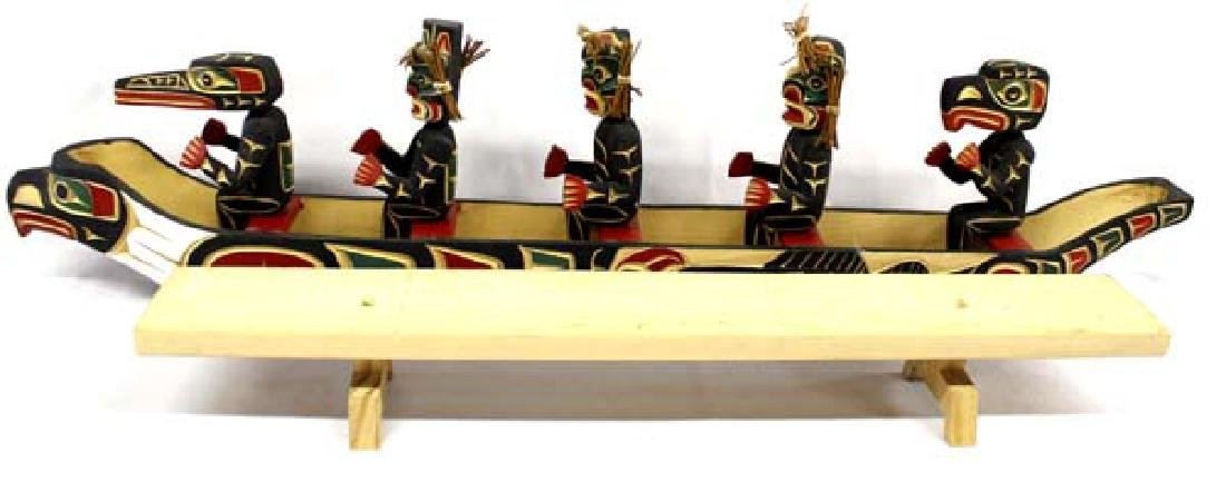 Kwakiutl Carved Head Canoe Model & Figures - 3