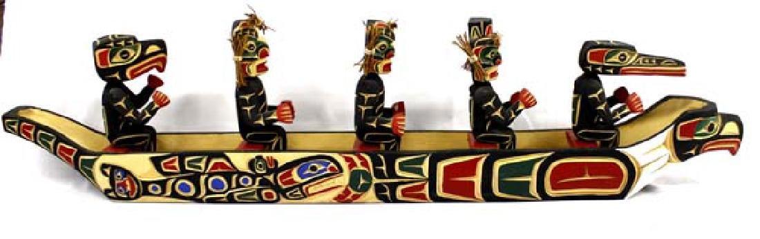 Kwakiutl Carved Head Canoe Model & Figures - 4