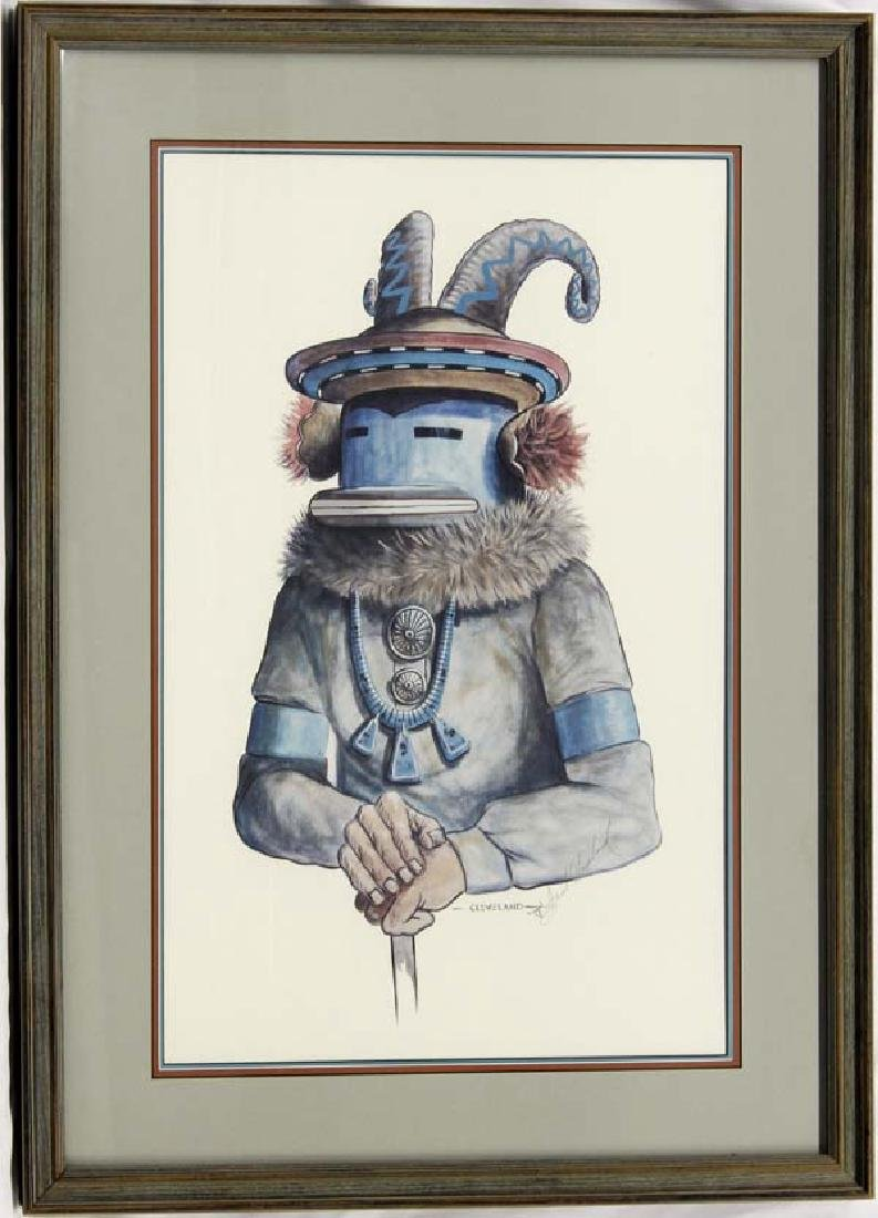 Estate Signed Ram Kachina Print by Fred Cleveland