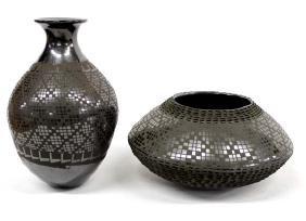2 Mexican Mata Ortiz Black on Black Pottery Jars
