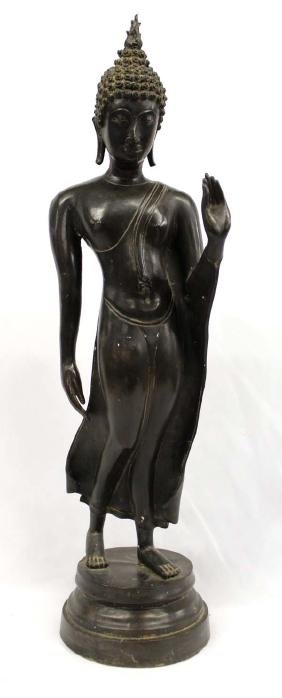 Large Bronze Siamese Semi-Nude Female Statue
