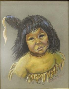 Original Pastel Drawing of Native American Child
