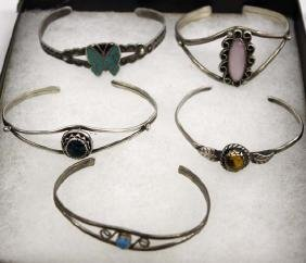 5 Sterling Bracelets, 4 are Native American