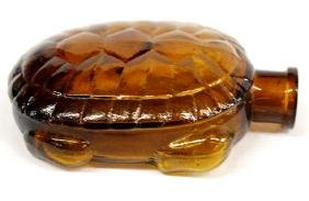 Antique Amber Glass Turtle Whiskey Flask