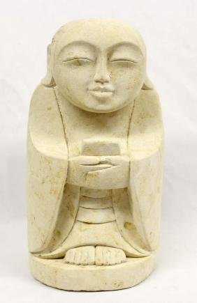 Estate Indonesian Heavy Carved Stone Monk Figure