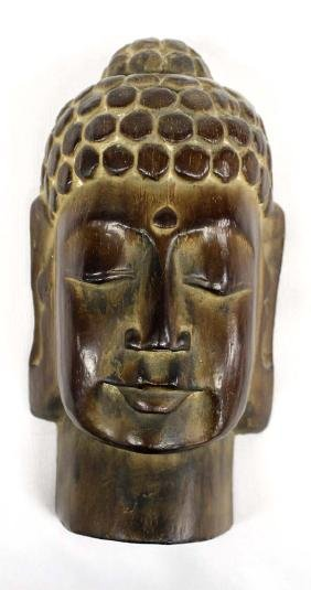 Hummert Estate Asian Carved Wood Buddah Head Face