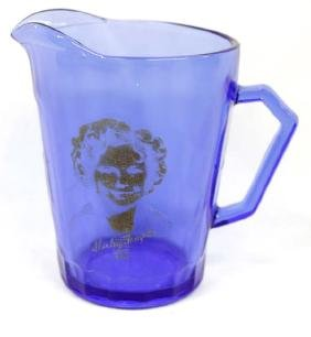 1930 Shirley Temple Cobalt Blue Glass Pitcher