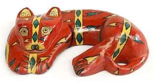 Vintage Mexican Carved Wood Folk Art Cat